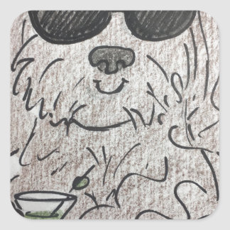 Havanese dog martini square sticker