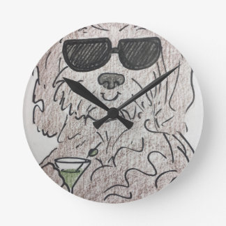 Havanese dog martini wallclock