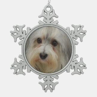 Havanese Dog Snowflake Pewter Christmas Ornament