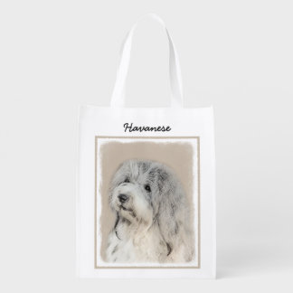 Havanese (Gold Sable) Painting - Original Dog Art Reusable Grocery Bag