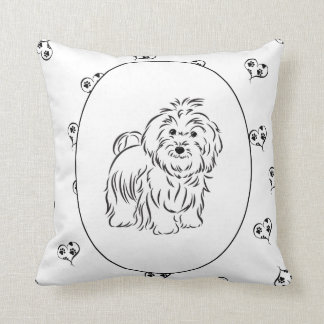 Havanese Hearts and Pawprints Throw Pillow
