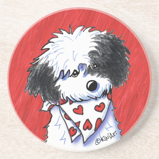 Havanese Hearts On Red Coaster