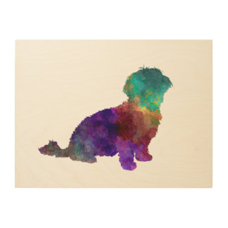 Havanese in watercolor wood canvases