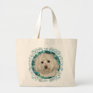Havanese on Turquoise Water Large Tote Bag