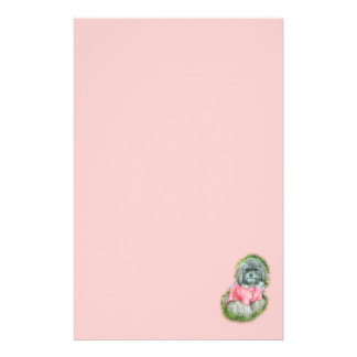 Havanese Pink Coat Art Portrait Stationery