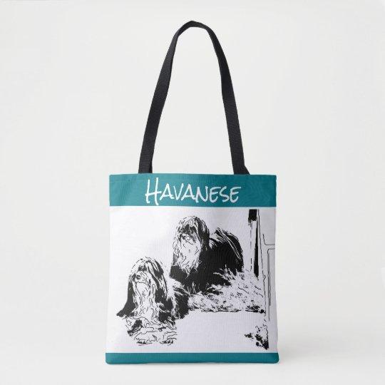 Havanese Print Tote Bags