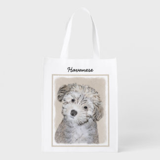 Havanese Puppy Painting - Cute Original Dog Art Reusable Grocery Bag
