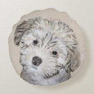 Havanese Puppy Painting - Cute Original Dog Art Round Pillow