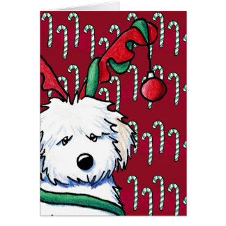 Havanese Reindeer Festive Holiday Card