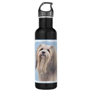 Havanese (Silver) Painting - Cute Original Dog Art 710 Ml Water Bottle