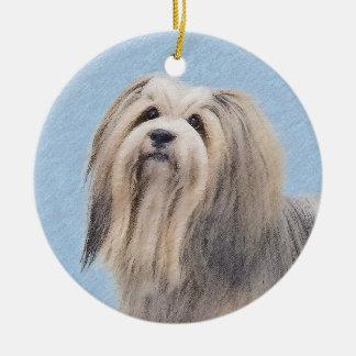 Havanese (Silver) Painting - Cute Original Dog Art Ceramic Ornament
