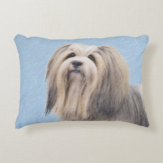 Havanese (Silver) Painting - Cute Original Dog Art Decorative Pillow