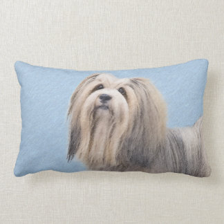 Havanese (Silver) Painting - Cute Original Dog Art Lumbar Pillow