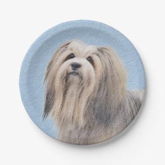 Havanese (Silver) Painting - Cute Original Dog Art Paper Plate