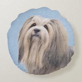 Havanese (Silver) Painting - Cute Original Dog Art Round Pillow