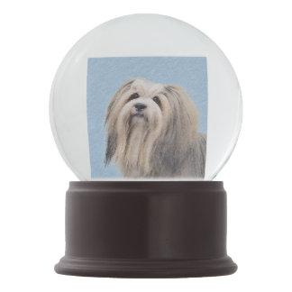 Havanese (Silver) Painting - Cute Original Dog Art Snow Globe