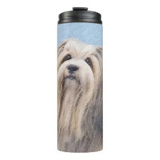 Havanese (Silver) Painting - Cute Original Dog Art Thermal Tumbler