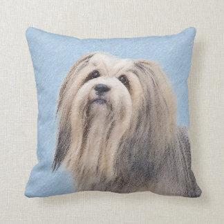 Havanese (Silver) Painting - Cute Original Dog Art Throw Pillow