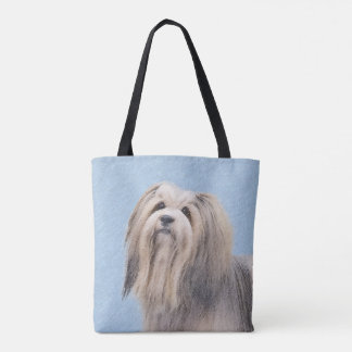Havanese (Silver) Painting - Cute Original Dog Art Tote Bag