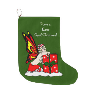 Have a Faerie Good Christmas Large Christmas Stocking