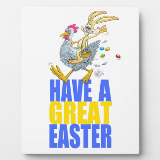 Have a great Easter,Bunny riding a chicken. Plaques