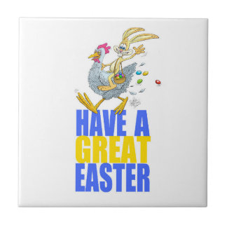 Have a great Easter,Bunny riding a chicken. Tiles