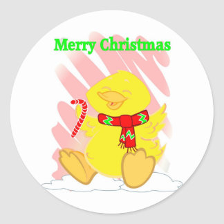 Have a Happy Duck Merry Christmas Round Sticker