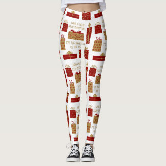 have a holly jolly christmas, red/gold on white leggings