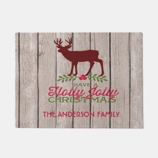 Have A Jolly Christmas Rustic Deer Door Mat