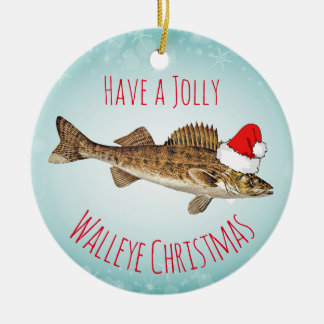 """Have a Jolly Walleye Christmas"" With Santa Hat Round Ceramic Ornament"