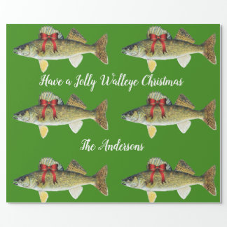 """""""Have a Jolly Walleye Christmas"""" Wrapping Paper"""