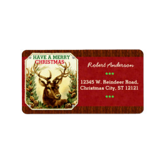 Have a Merry Christmas Reindeer Personalized Label
