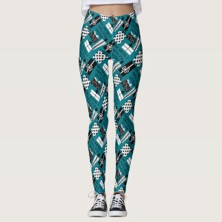 have a merry little xmas, B&W on teal Leggings