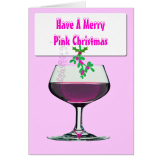 Have a Merry Pink Christmas - Wine Xmas Card