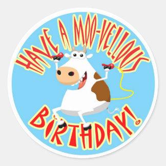 Have a Moo-Vellous Birthday Round Sticker