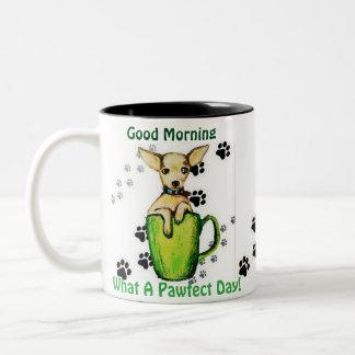 HAVE A PAWFECT DAY Adorable Good Morning Pup Mug. Two-Tone Coffee Mug