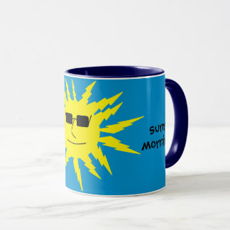 Have a sunny morning Cool Yellow Sun Print Blue Mug