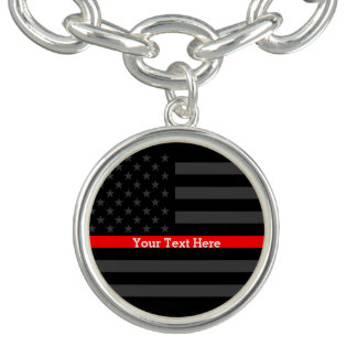 Have a Text Thin Red Line Custom Grey US Flag on a Bracelets