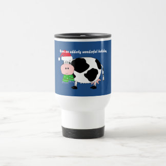 Have a Wonderful Holiday Christmas Cow Travel Mug