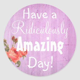 Have an Amazing  Day Rustic Floral Purple Sticker