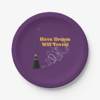Have Broom Will Travel Halloween Paper Plates
