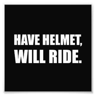 Have Helmet Will Ride White Photo