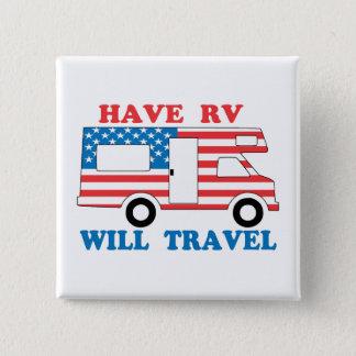 Have RV Will Travel America 2 Inch Square Button
