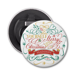 Have Yourself A Merry Little Christmas Typography Button Bottle Opener
