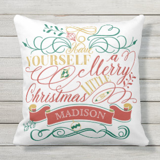 Have Yourself A Merry Little Christmas Typography Throw Pillow
