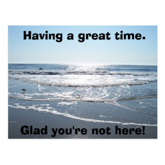 Having a great time., Glad you're not here! Postcard