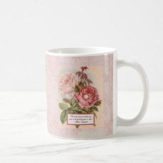 Having an Open Heart: Victorian Pink Roses Print Coffee Mug