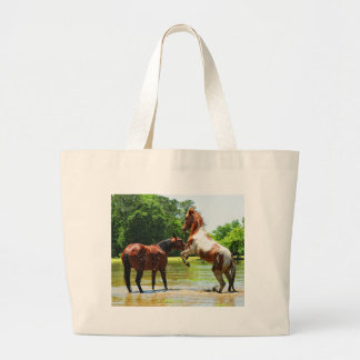 Having fun! large tote bag