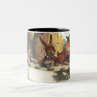 Having Tea With The Hatter and White Rabbit Two-Tone Coffee Mug