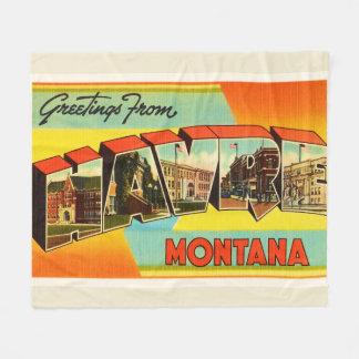 Havre Montana MT Old Vintage Travel Souvenir Fleece Blanket